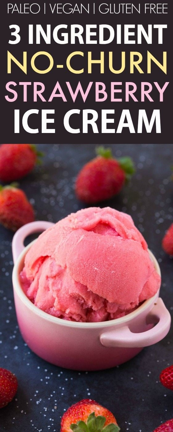 3 Ingredient Blender Strawberry Ice Cream (V, GF, P, DF)- No-Churn, easy and fool-proof ice cream made with three easy ingredients and NO ice-cream maker needed! {vegan, gluten free, paleo recipe}- thebigmansworld.com