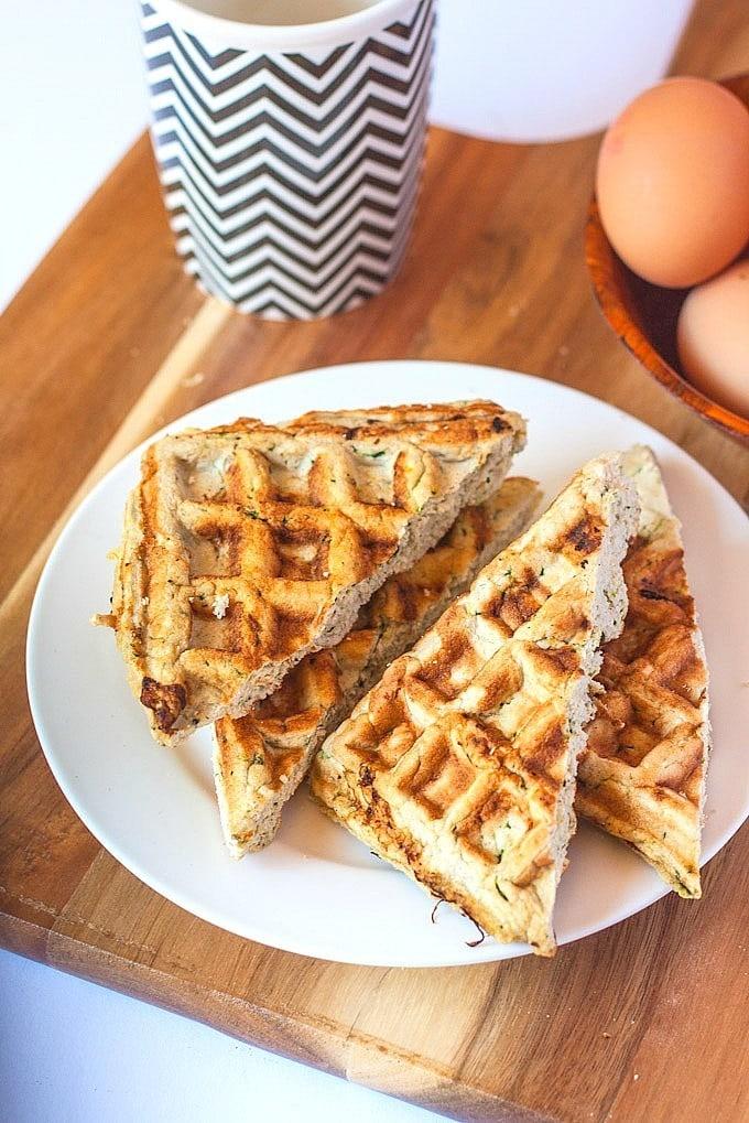 Gluten Free Cheddar and Garlic waffles which are #glutenfree # ...