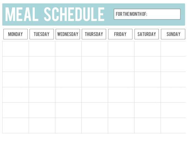 Hunger calling The clock says No – Meal Calendar
