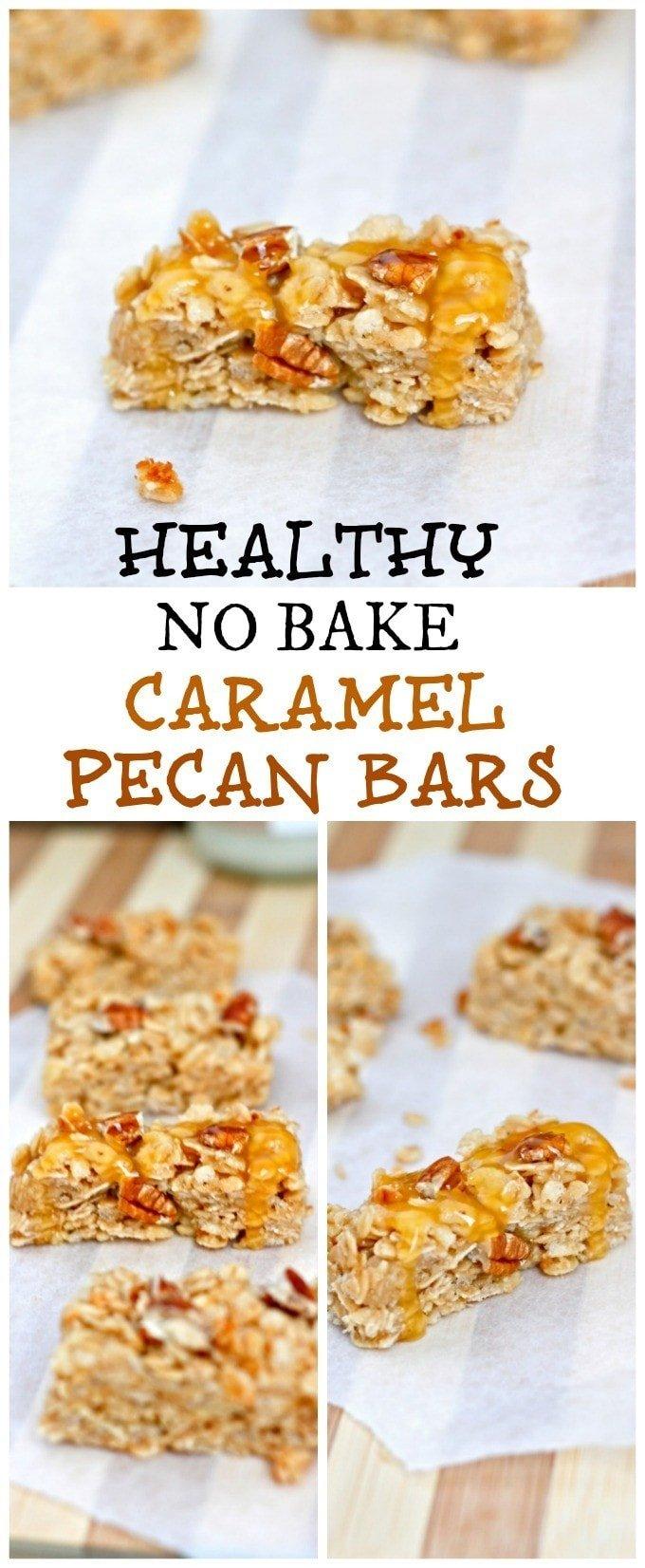 Healthy] No Bake Caramel Pecan Granola Bars