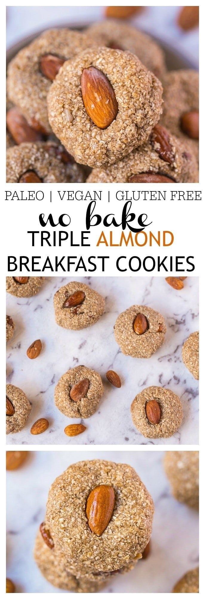 No Bake Triple Almond Breakfast Cookies- A delicious, no bake healthy cookie recipe which requires 1 bowl and 10 minutes tops to whip up! Using almonds three ways, these cookies are gluten free, paleo, vegan, dairy free and the perfect grab and go healthy breakfast! @thebigmansworld -thebigmansworld.com