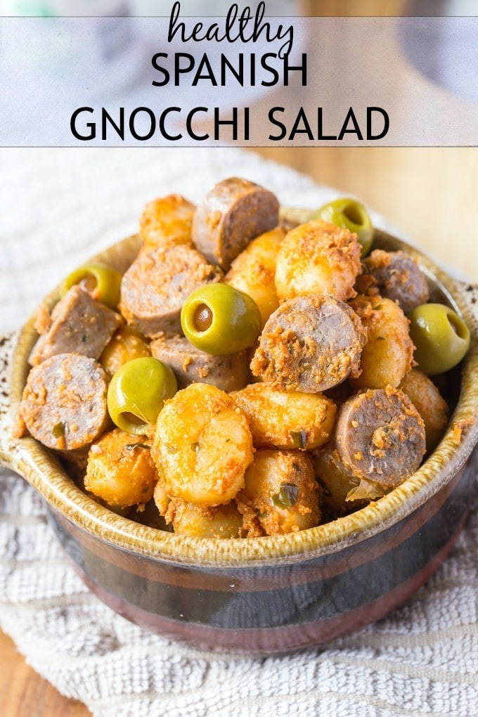 Healthy Spanish Gnocchi Salad- Spruce up your salads this Spring and Summer with this pasta salad based off gnocchi! Marry Italy and Spain together for this delicious, healthy and gluten free Spanish Gnocchi salad which is perfect eaten hot or cold and takes minutes to whip up- A flavour explosion! @thebigmansworld -thebigmansworld.com