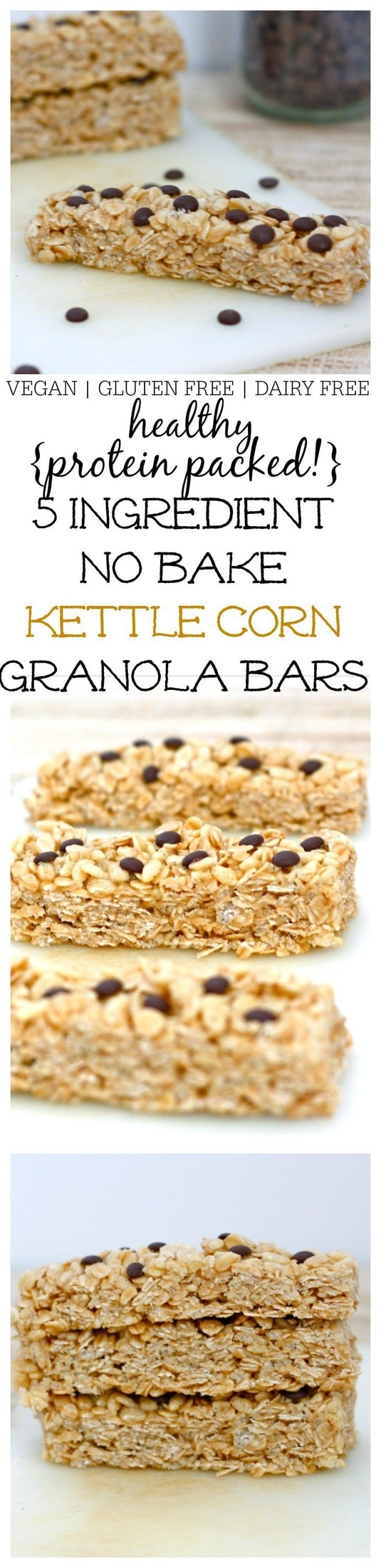 5 Ingredient No Bake Kettle Corn Granola Bars- Just five ingredients, 1 bowl and 10 minutes is needed to whip up these delicious no bake kettle corn granola bars! Sweet, salty and the added crunch makes this a texture lover's dream! Vegan, dairy free, gluten free and a high protein option! @thebigmansworld- thebigmansworld.com