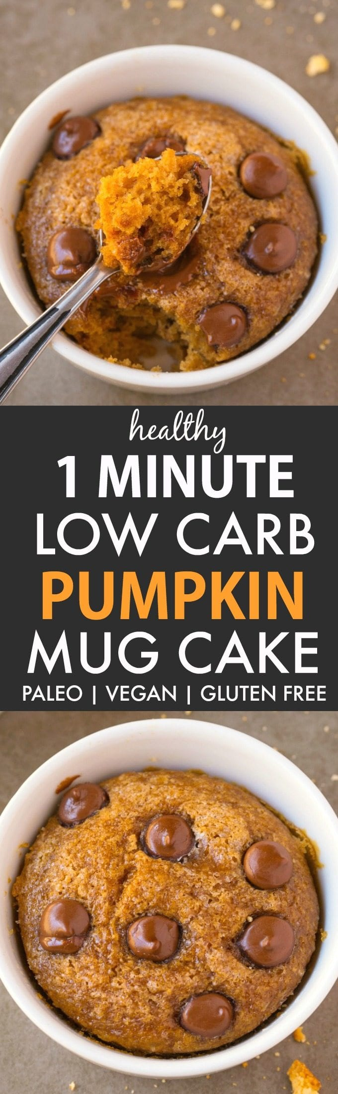 Healthy 1 Minute Low Carb Pumpkin Mug Cake (V, GF, P, DF)- A fool-proof, guilt-free mug cake recipe loaded with pumpkin flavor and super fluffy and light! Oven option included! {vegan, gluten free paleo recipe}- thebigmansworld.com #pumpkin #mugcake