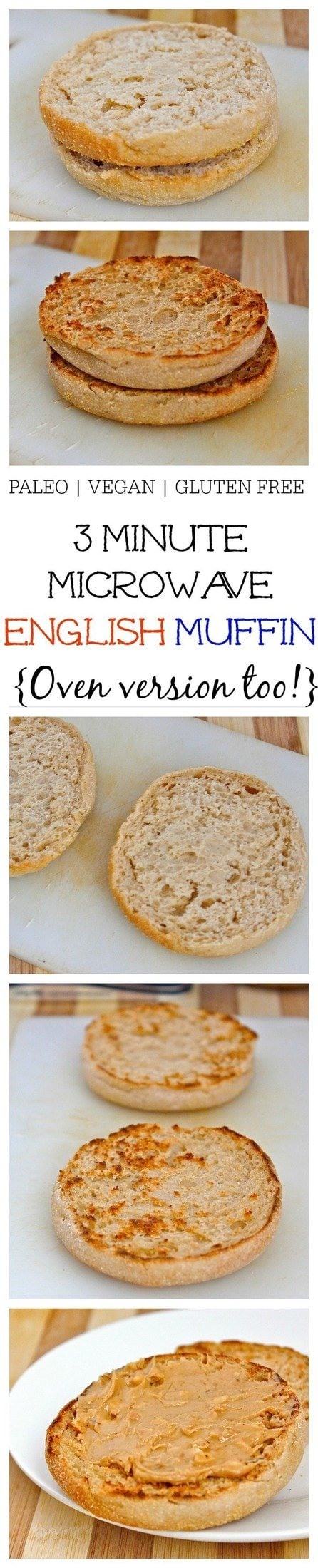 Healthy 3 Minute Microwave English Muffin made with NO flour, NO oil, NO butter and comes with a tested oven option! {vegan, gluten free, paleo recipe}- thebigmansworld.com