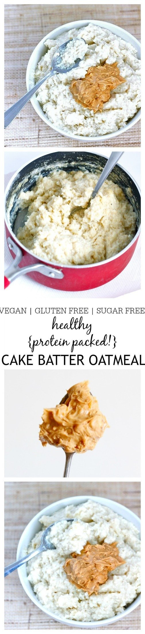 Healthy {Protein Packed!} Cake Batter Oatmeal- he taste and texture of a classic cake batter but in a healthy breakfast oatmeal form! This Cake Batter Oatmeal is gluten free, dairy free, sugar free and has a vegan option- Perfect to be eaten hot OR cold! @thebigmansworld - thebigmansworld.com