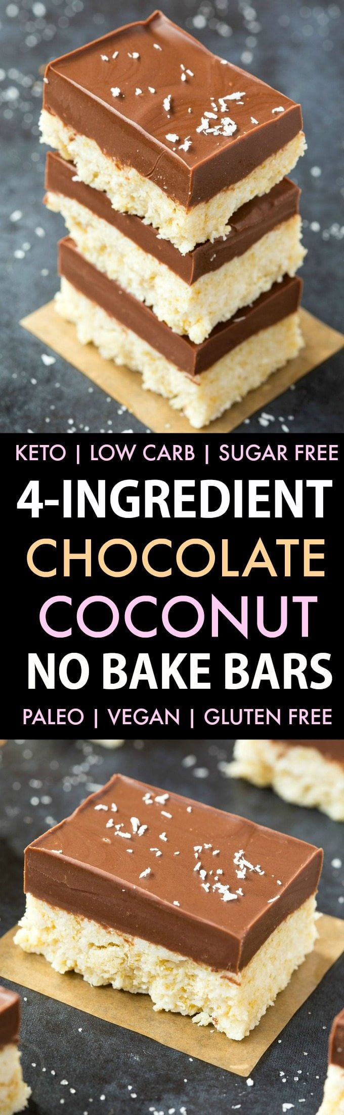 4-Ingredient No Bake Chocolate Coconut Bars (Low Carb, Paleo, Vegan, Keto, Sugar Free, Gluten Free)- Easy, healthy and seriously addictive  chocolate coconut candy bars using just 4 ingredients and needing 5 minutes! They taste like a bounty mound bar! #keto #ketodessert #coconut #healthy  #nobake | Recipe on thebigmansworld.com