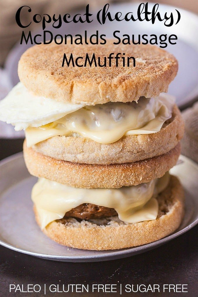 Copycat McDonalds Sausage McMuffin- These healthy breakfast sandwiches take 10 minutes to whip up and are perfect for a quick prep to set for #breakfast for a week- #paleo #glutenfree and #sugarfree- Dare I say better than the original? @thebigmansworld.com