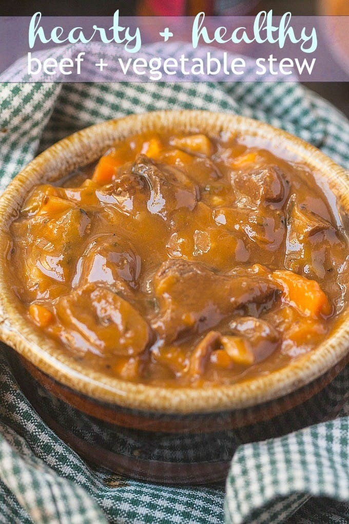 Hearty and Healthy Beef and Vegetable Stew- Filling, easy prep and a family favourite- Possible to make in the #slowcooker or stovetop and naturally #glutenfree - @thebigmansworld.com