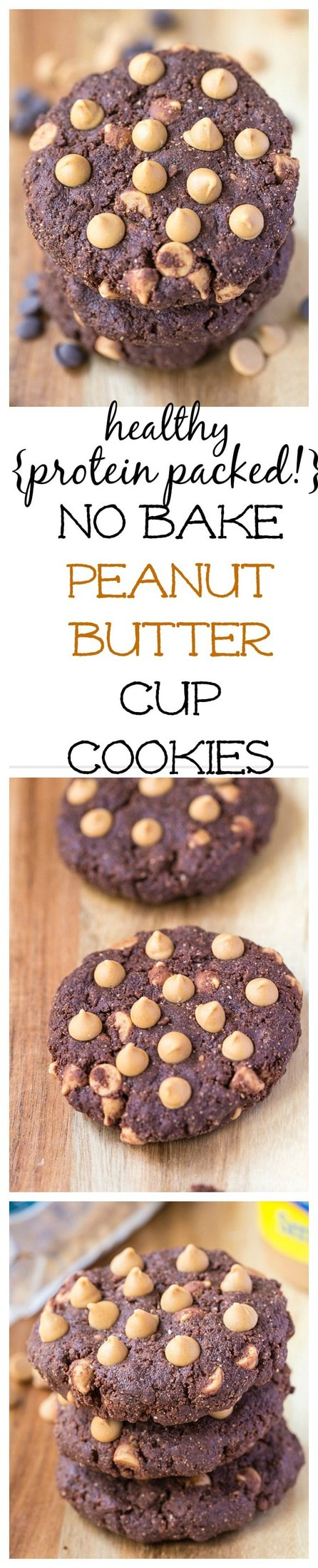 Healthy No Bake Peanut Butter Cup Cookies- Soft, chewy and ready in just TEN minutes, these peanut butter cup cookies taste JUST like Reese's but are SO healthy for you! Vegan, gluten free, dairy free and VERY low in sugar! @thebigmansworld - thebigmansworld.com