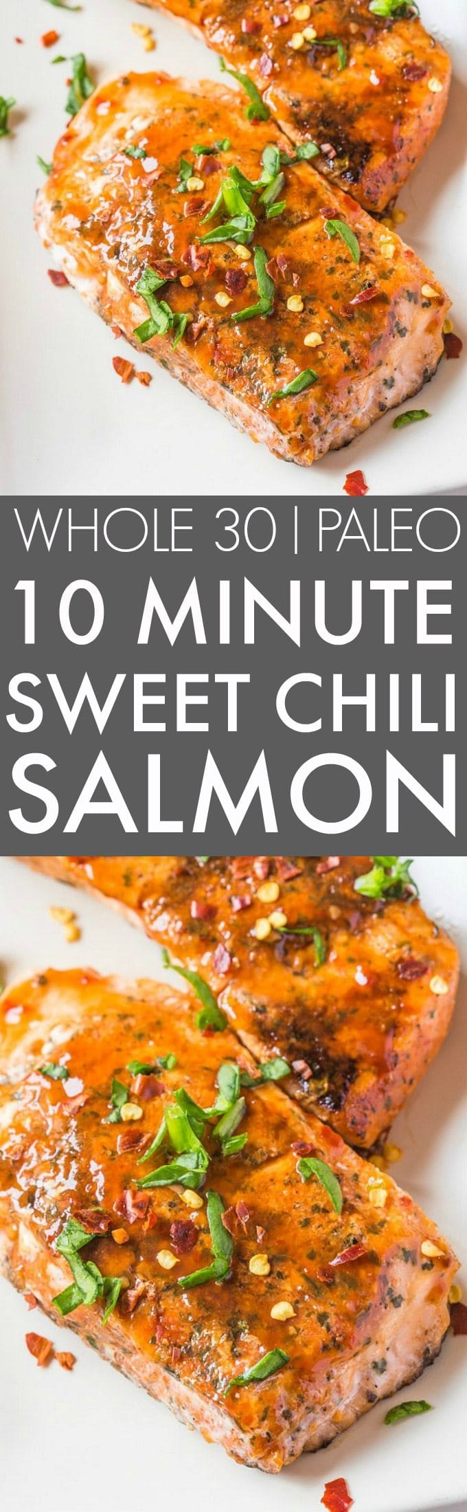 Easy 10 Minute Sweet Chili Salmon (Whole 30, Paleo)- Whole30 friendly sweet chilli/chili salmon seared in TEN minutes- SO flavorful and perfect low carb, high protein meal! {paleo, whole30, gluten free}- thebigmansworld.com