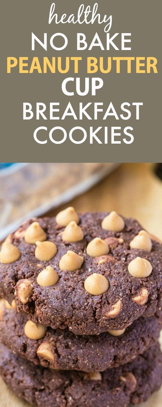 Healthy No Bake Peanut Butter Cup Breakfast Cookies- Thick, chewy and super fudgy cookies which taste like a peanut butter cup but secretly healthy! {vegan, gluten free, paleo recipe}- thebigmansworld.com