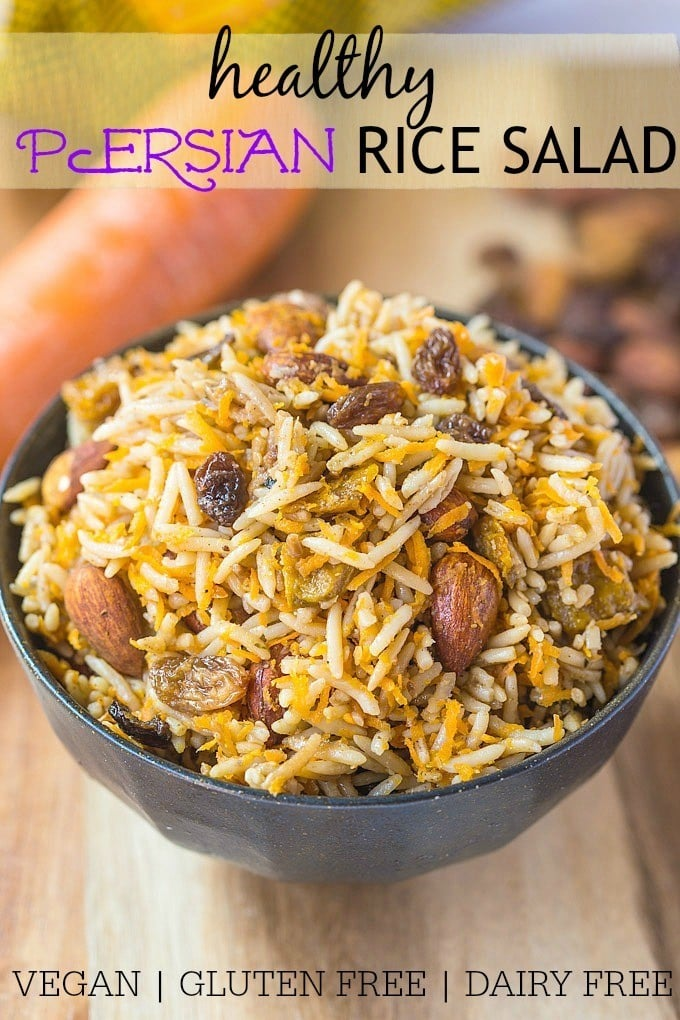 Vegan Persian Rice Salad- A delicious, Persian style sweet and savoury salad based off almonds, raisins and fragrant basmati rice. Perfect eaten hot or cold, this salad is vegan, gluten free and light and fresh- Perfect for any meal, especially a mother's day brunch! @thebigmansworld - thebigmansworld.com