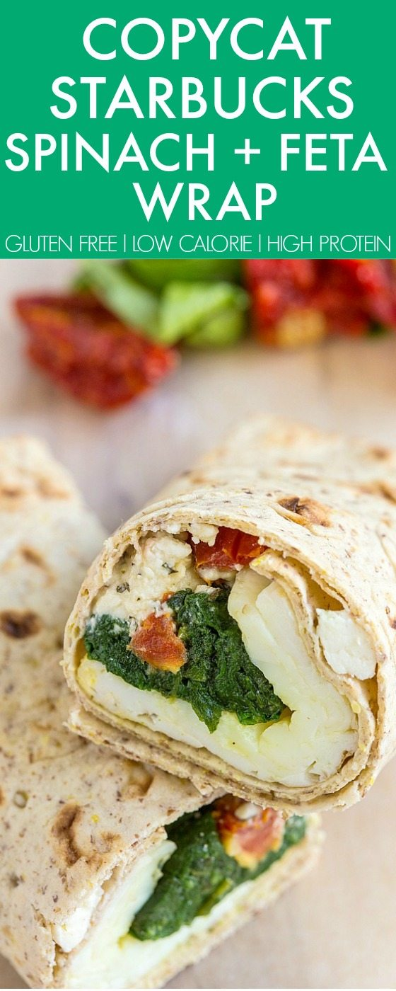COPYCAT Starbucks Spinach and Feta Wrap perfect for breakfast, snacks and even freezer friendly- Easy, delicious and better than the original! {gluten free, high protein, low calorie recipe}- thebigmansworld.com