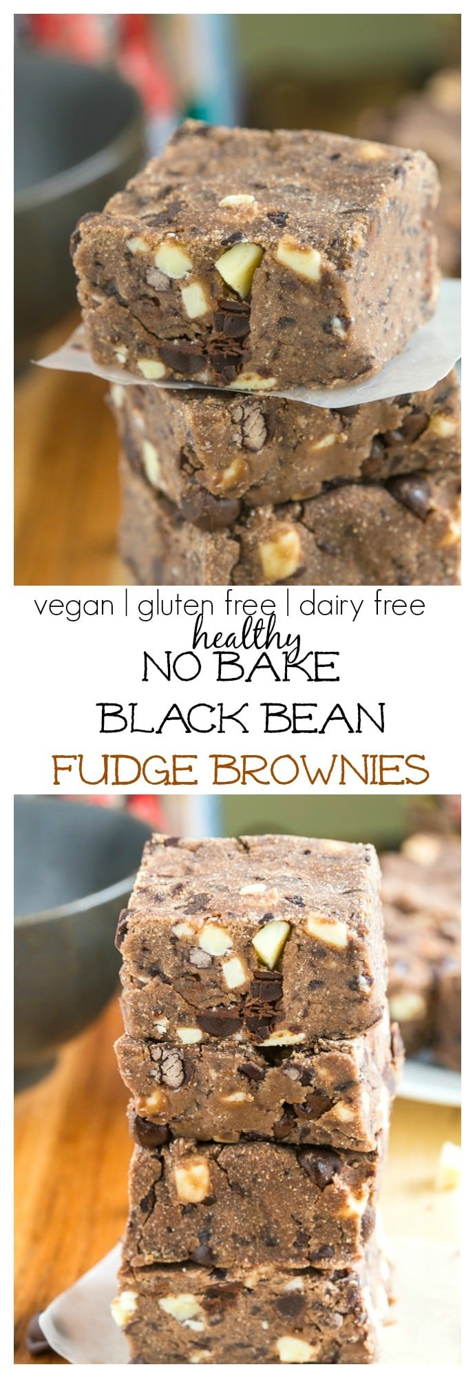 No Bake Black Bean Fudge Brownies- 1 bowl + 10 minutes- High in protein + Fiber- Naturally vegan, gluten free, allergy free + dairy free! @thebigmansworld - thebigmansworld.com