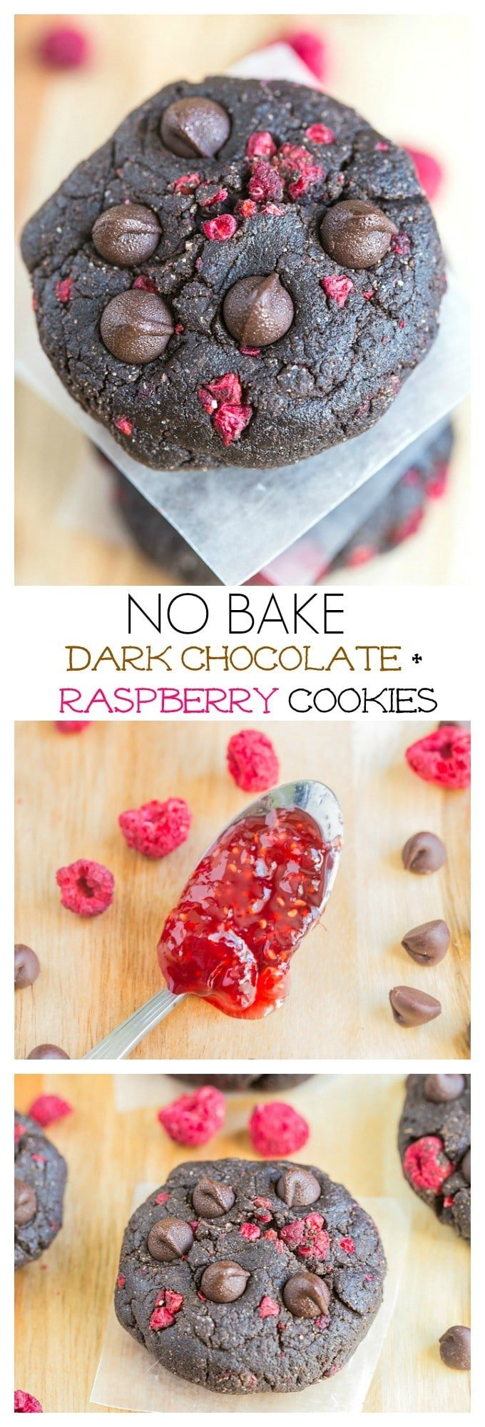 Healthy No Bake Dark Chocolate + Raspberry Cookies- Ready in 10 ...