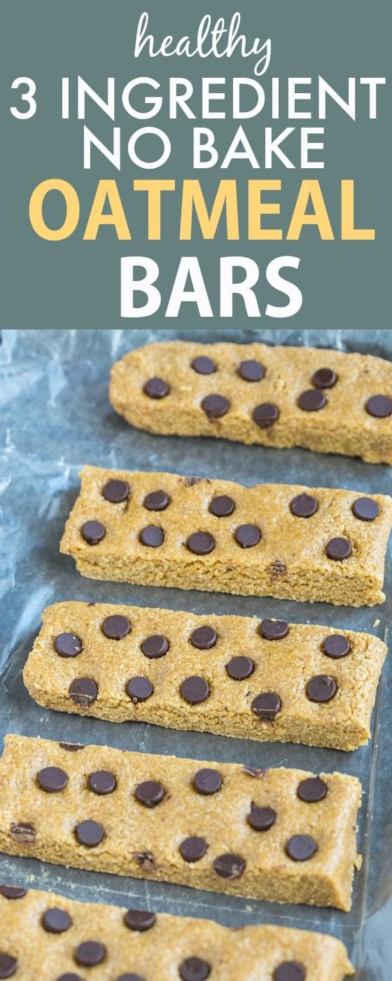 Healthy 3 Ingredient No Bake Oatmeal Bars- Simple, quick and easy (and delicious!) no bake snack or dessert bars which take minutes- NO butter, oil, flour or sugar and a popular pin! {vegan, gluten free, dairy free recipe}- thebigmansworld.com