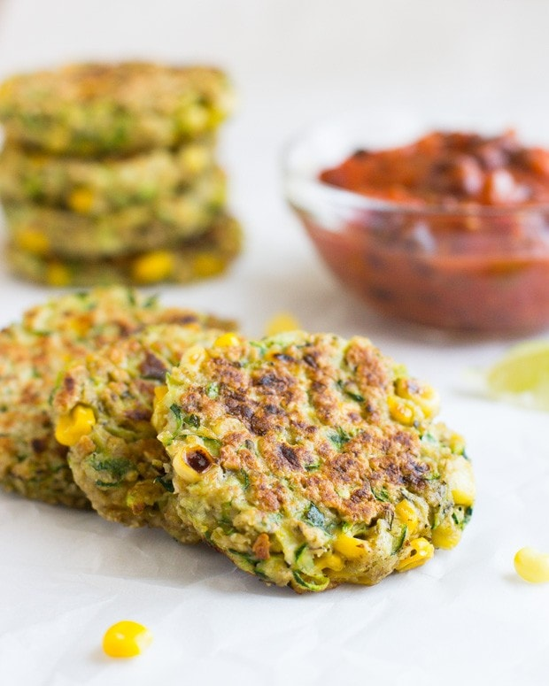 Zucchini Corn Fritters with Black Bean Salsa 0