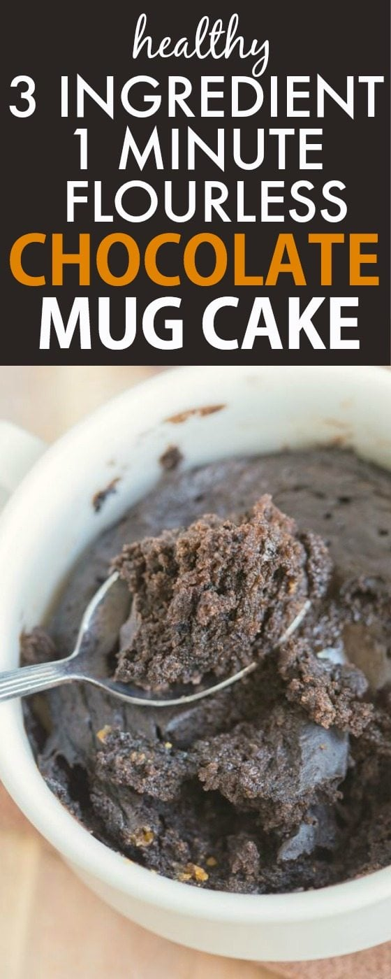 Healthy 3 Ingredient Chocolate Mug Cake made with THREE easy ingredients (and one minute!) and no boxed mix- NO butter, oil, flour, grains or sugar yet 100% EASY + DELICIOUS! vegan, gluten free, paleo recipe- thebigmansworld.com