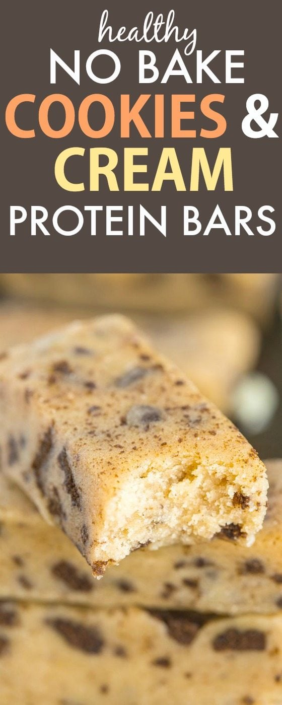 Healthy No Bake Cookies and Cream Protein Snack Bars- Just 10 minutes and 1 bowl to whip these up- Soft, chewy and no refrigeration needed- They taste like candy! {vegan, gluten free, paleo recipe}- thebigmansworld.com