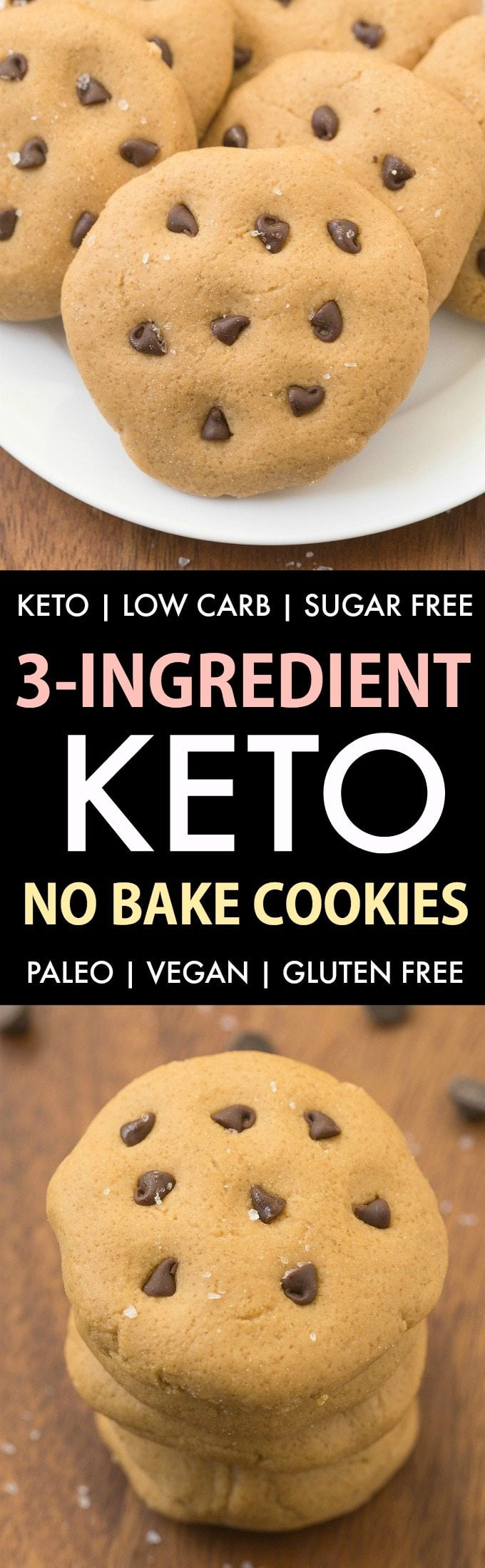 3-Ingredient No Bake Keto Cookies (Paleo, Vegan, Low carb, Sugar Free, Gluten Free)- Easy, healthy and low carb no bake cookies using just 3 ingredients and needing 5 minutes- Soft, chewy and fudgy! #keto #almondbutter #cookies #healthy #nobake | Recipe on thebigmansworld.com
