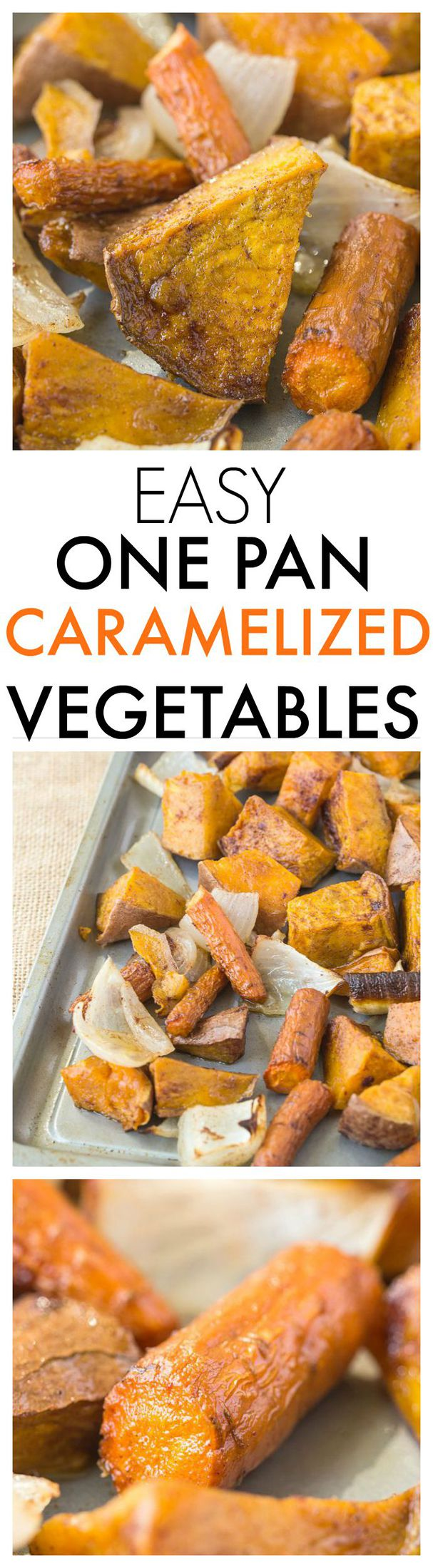 Easy One Pan Caramelized Vegetables- A set and forget recipe which takes two minutes- You'll never eat vegetables any other way again! {paleo, vegan, gluten-free}-thebigmansworld.com