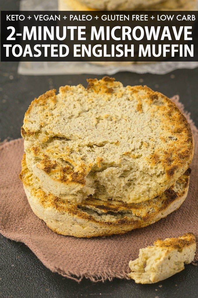 English muffin in a microwave recipe ready in 2 minutes- Perfect for a paleo, keto and low carb diet!