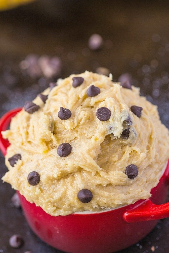 Healthy Edible Banana Bread Batter for one- The taste + texture of classic banana bread batter but SO healthy- This recipe is single serve and packed full of protein and barely any sugar! {vegan, gluten-free, egg-free, paleo recipe}- thebigmansworld.com