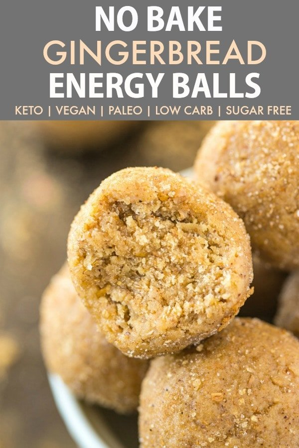 Chewy gingerbread energy balls covered with gingerbread spices and cinnamon.