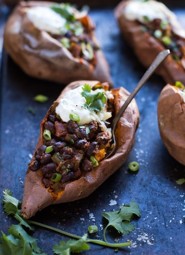 Black Bean Chipotle Stuffed Sweet Potatoes _