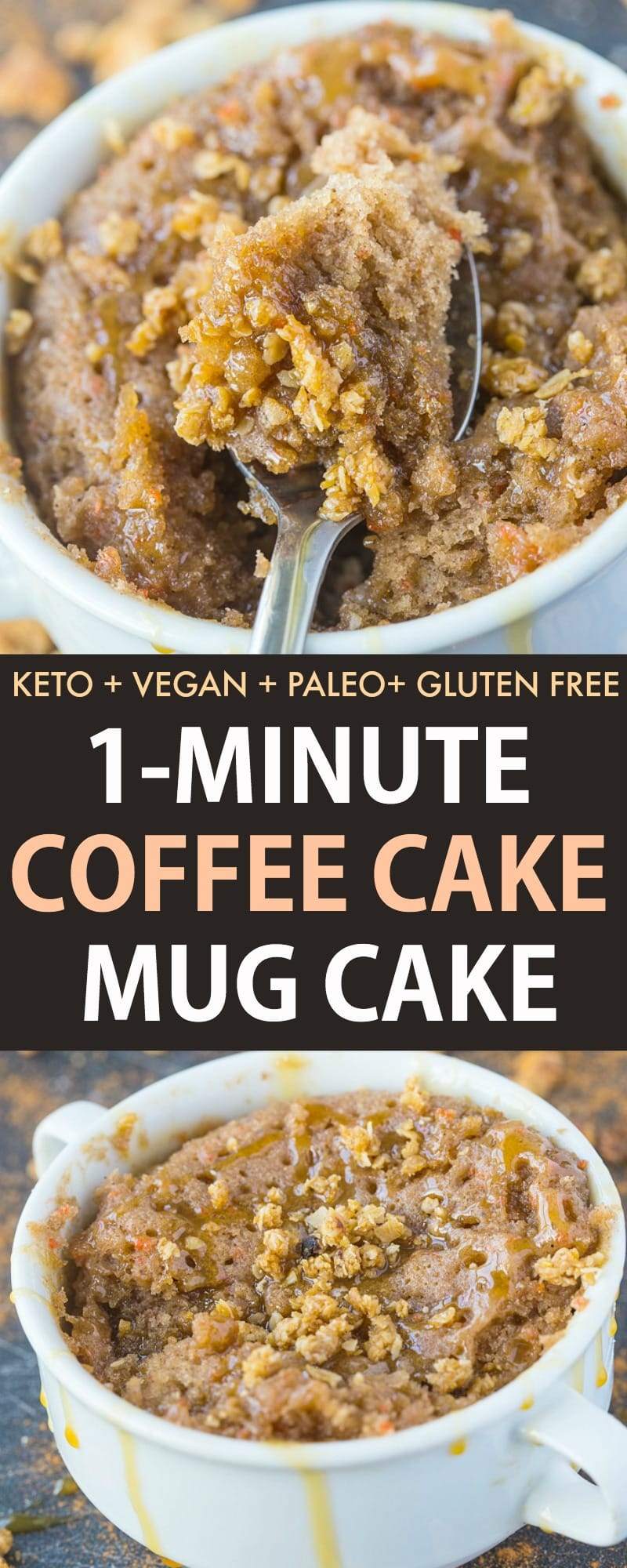 healthy single serving coffee cake in a mug. Paleo, keto and vegan