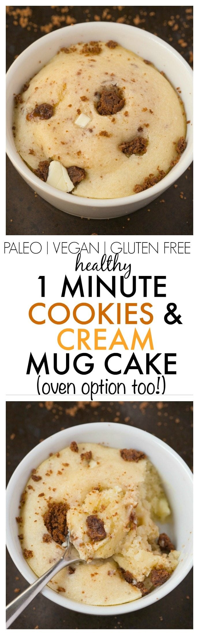 Healthy 1 Minute Cookies and Cream Mug Cake made with NO butter, NO oil. NO grains and NO sugar, yet incredible- Oven option too! {vegan, gluten free, paleo recipe}- thebigmansworld.com