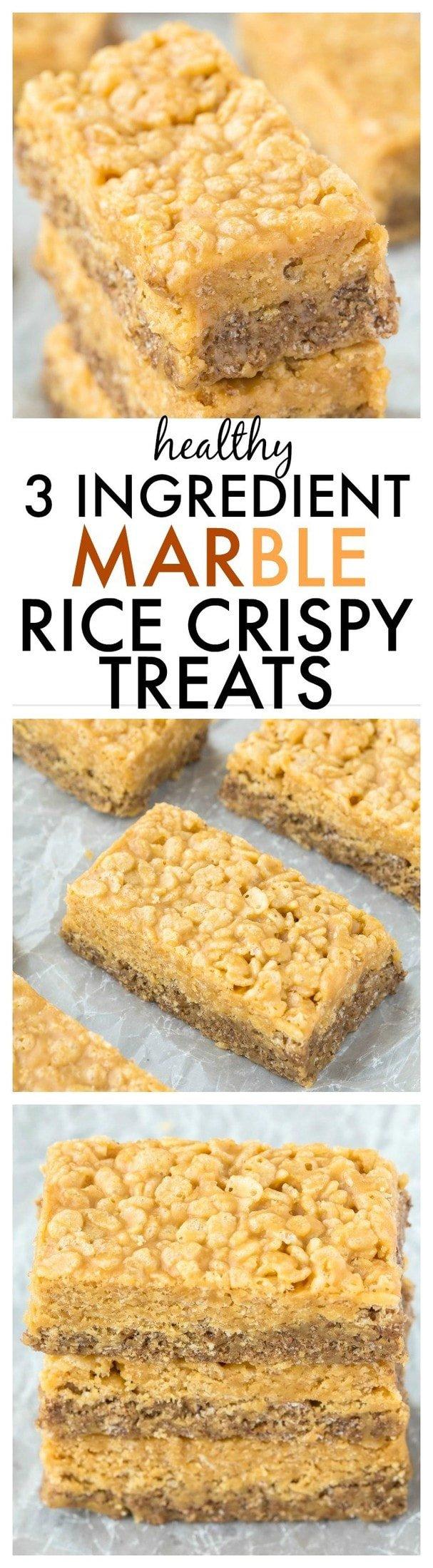 Healthy 3 Ingredient MARBLE rice crispy treats- Half original, half chocolate- NO nasties and just THREE healthy ingredients- No baking required! {vegan, gluten free recipe}