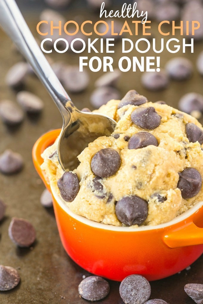 Healthy Classic Cookie Dough for One- Smooth, creamy and a generous serving for ONE- It's secretly healthy and NO eggs, butter or sugar! {vegan, gluten free, paleo options recipe}- thebigmansworld.com