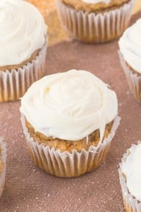 Healthy Flourless Carrot Cake Muffins which are tender on the outside and moist and fluffy on the inside- NO butter, oil, flour OR sugar- Even the frosting is healthy! {vegan, gluten free, sugar free recipe}
