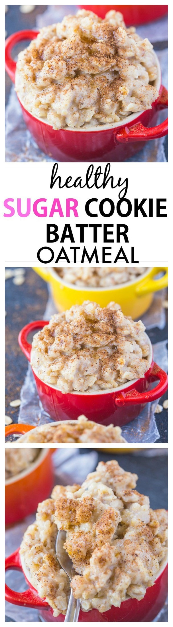 Smooth, creamy and secretly healthy, this sugar cookie batter oatmeal has incredible texture- It can also be completely sugar free too! {vegan, gluten free, high protein recipe}