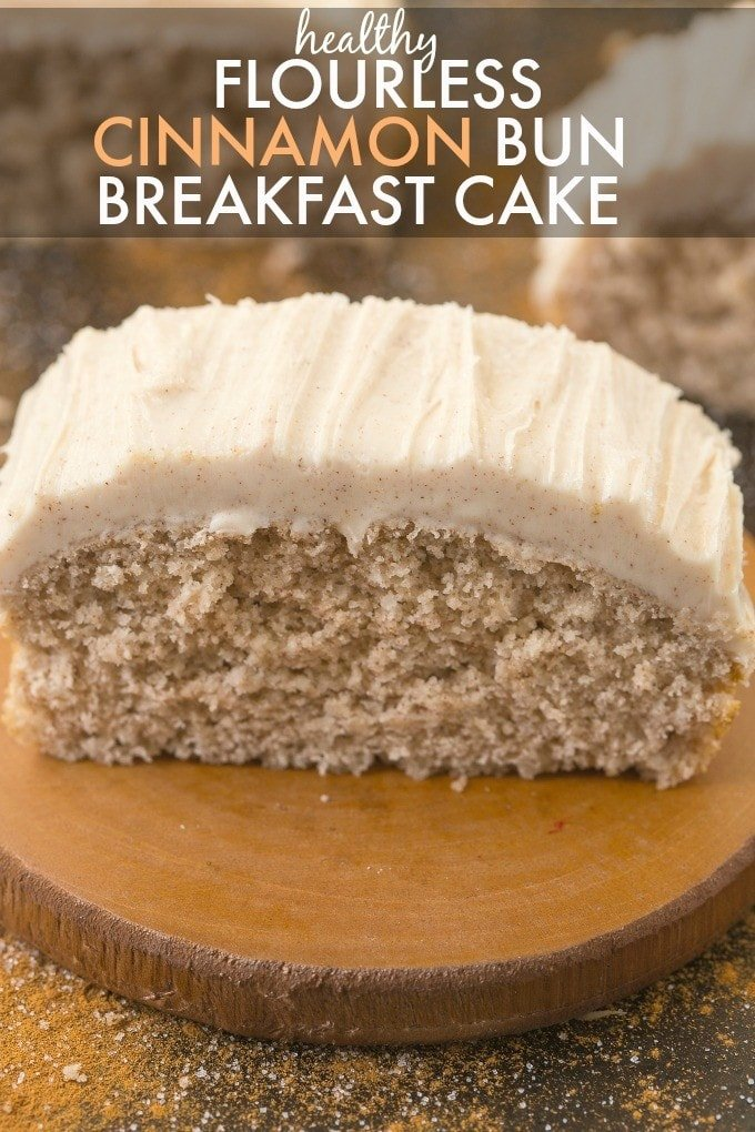 Flourless Cinnamon Bun Breakfast Cake with protein frosting