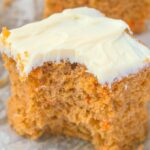 A slice of keto and low carb carrot cake with a cream cheese frosting