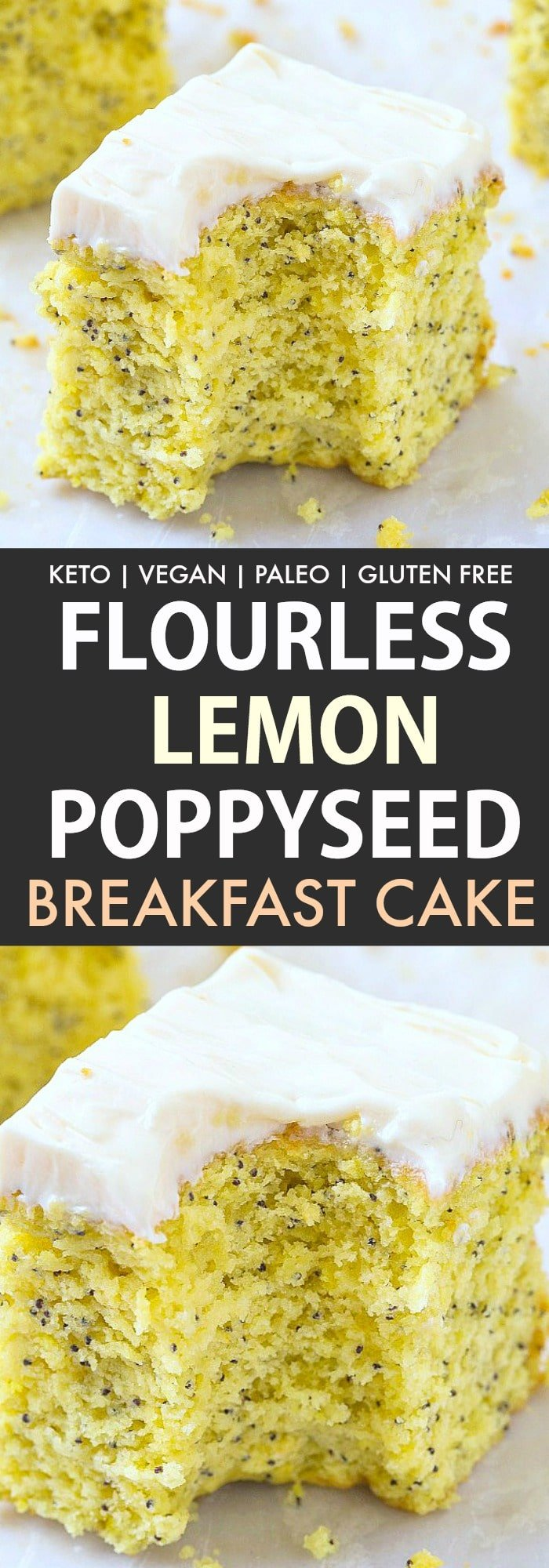 healthy flourless keto lemon poppy seed breakfast cake topped with a dairy free cream cheese frosting