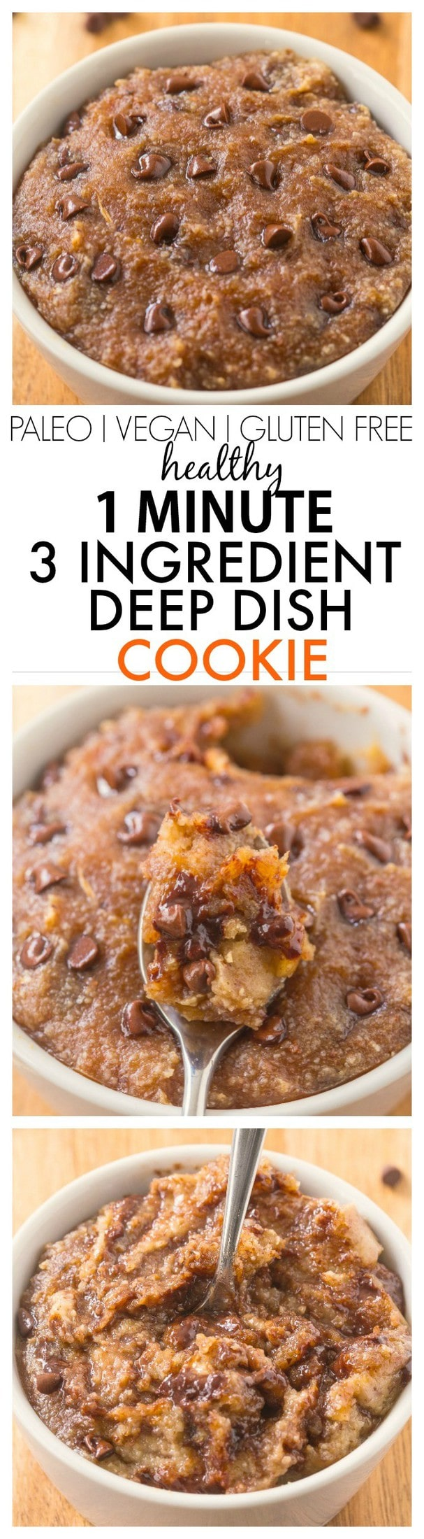 Healthy 3 Ingredient Deep Dish Cookie- SO ooey, gooey and melt in your mouth- Ready in 1 minute with NO butter, oil, grains or sugar! {vegan, gluten free, paleo recipe}- thebigmansworld.com