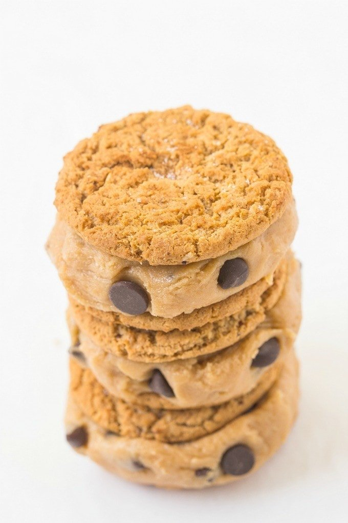 Healthy Flourless Cookie Dough Stuffed Sandwich Cookies- Easy, delicious and secretly healthy, these have NO butter, oil, flour or white sugar- Delicious! {vegan, gluten free, dairy free recipe}- thebigmansworld.com