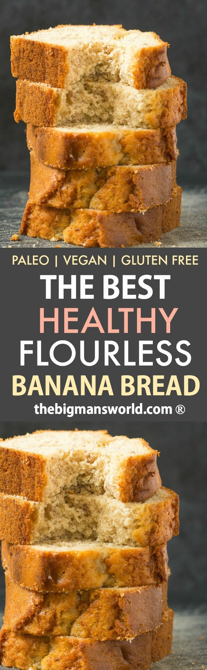 The BEST Healthy Flourless Banana Bread made with almond flour- No eggs, no flour and no oats, it's perfect for breakfast or a snack- Tender on the outside, moist on the inside! Paleo, Vegan and Gluten-Free #bananabread #flourless #breakfast #paleo #vegan #glutenfree #grainfree #bananacake