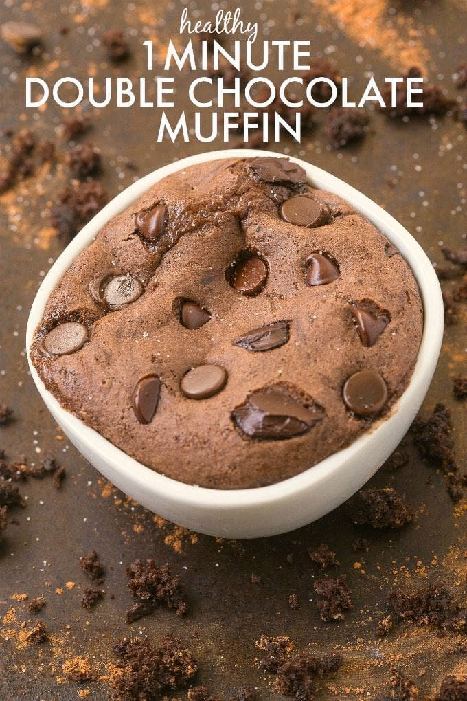 Healthy 1 Minute Double Chocolate Muffin made with NO butter, NO oil, NO flour and NO sugar but you'd never tell! Oven option too! {vegan, gluten free, grain free, paleo recipe}- thebigmansworld.com