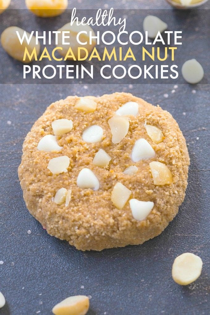 Protein cookies with white chocolate chips and macadamia nuts