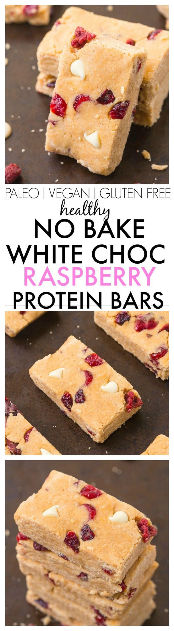 Healthy No Bake White Chocolate Raspberry Protein Bars- Easy, delicious and so much healthier than store bought- These taste like dessert bars! {vegan, gluten free, paleo recipe}- thebigmansworld.com