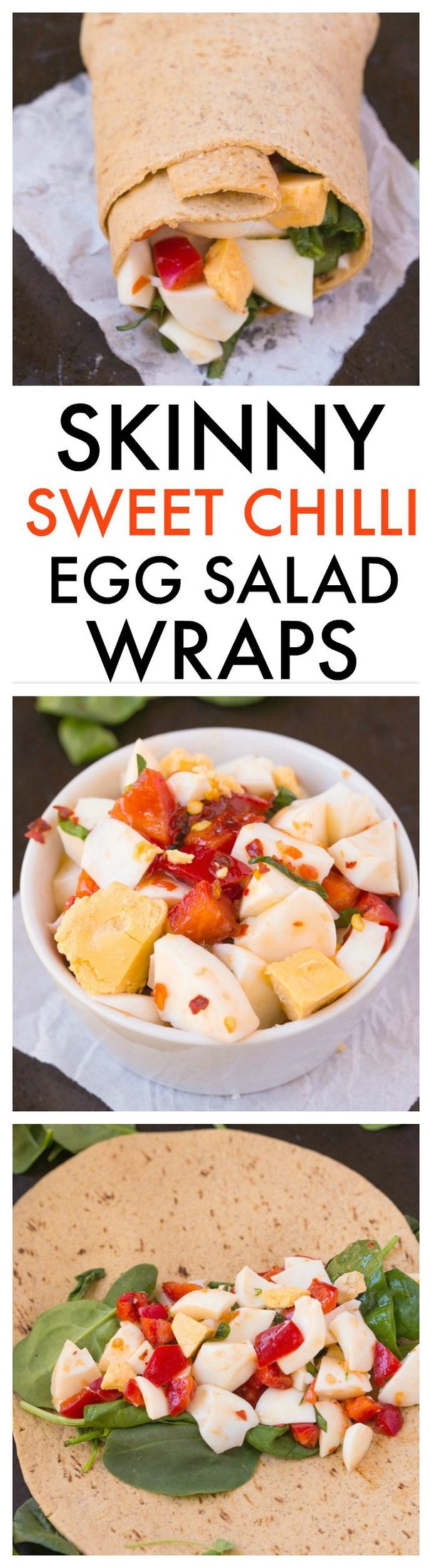 Healthy Skinny Sweet Chilli Egg Salad Wraps made with NO mayonnaise but SO tasty- The salad itself is completely gluten free and paleo friendly! - thebigmansworld.com