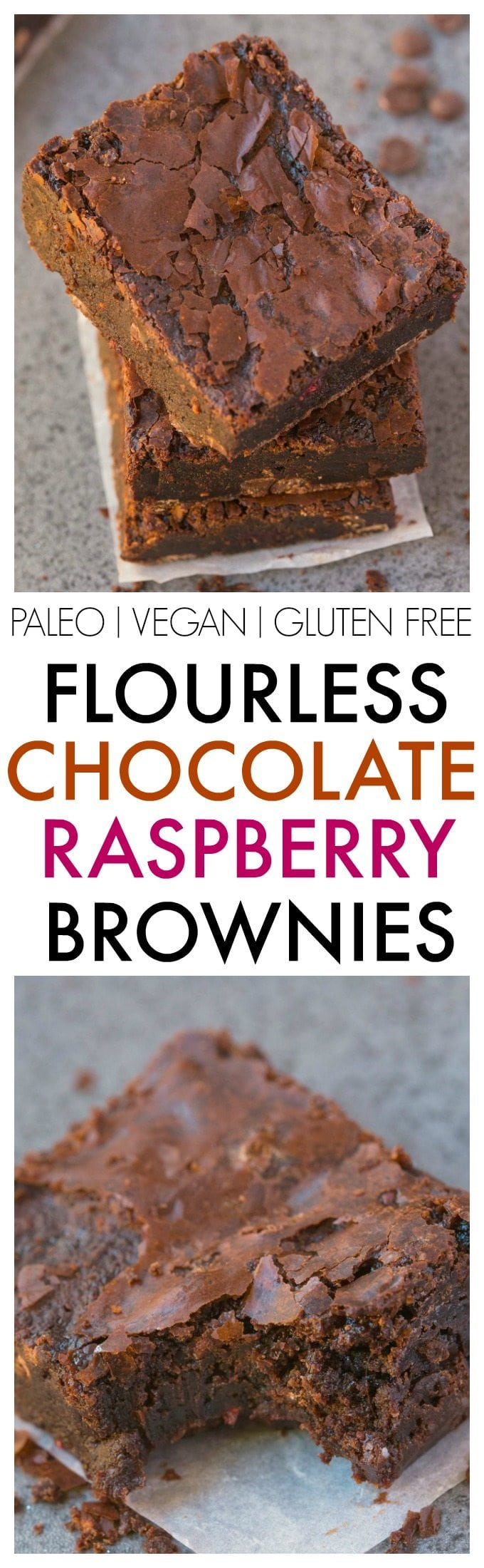 Healthier Flourless Chocolate Raspberry Brownies made with NO flour and NO butter and BETTER than boxed mixes- Fudgy, moist, gooey and with those gorgeous crinkled tops! {vegan, gluten free, paleo recipe}- thebigmansworld.com