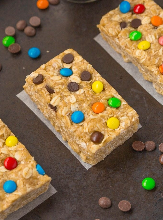 Healthy NO BAKE Monster Cookie Protein Granola Bars- Quick and easy snack bars which are extra chewy- NO butter, oil or flour in the entire recipe! {vegan, gluten free, dairy free recipe}- thebigmansworld.com
