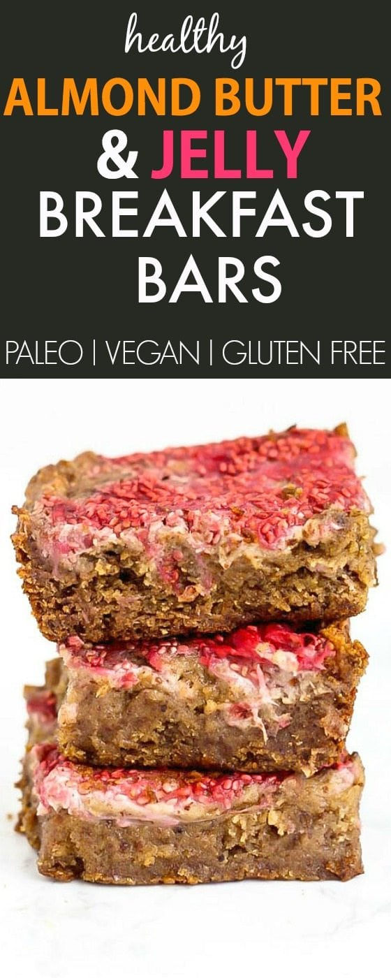 Healthy Almond Butter and Jelly BREAKFAST Bars- Fudgy and delicious baked bars made with NO butter, oil, grains or sugar, but you'd never tell! {vegan, gluten free, paleo recipe}- thebigmansworld.com