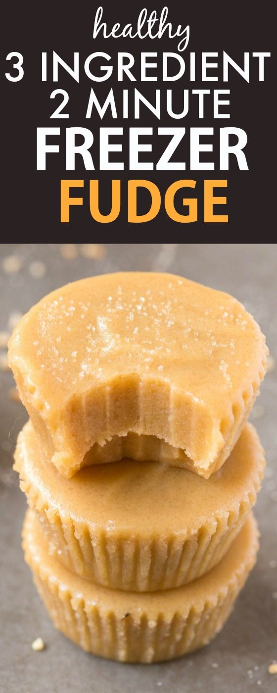 Healthy No Bake 3 Ingredient Freezer Fudge ready in TWO minutes, including prep! Smooth, creamy and decadent, but with NO butter, condensed milk, dairy or sugar! {vegan, gluten free, paleo recipe}- thebigmansworld.com